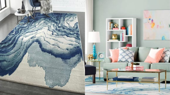 With a watercolor pattern, this rug will draw all the compliments.