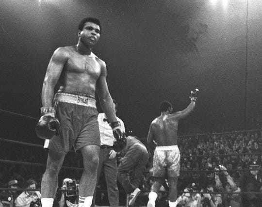 Muhammad Ali pictured in his infamous 1971 matchup against Joe Frazier at Madison Square Garden.