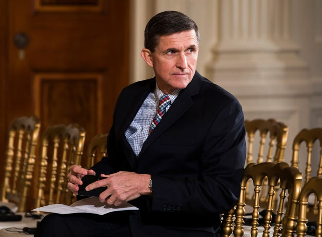 Former National Security Advisor Michael Flynn, National Security Advisor at a White House press conference in Washington, D.C. in February 2017