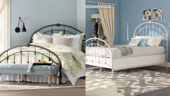An iron bed frame screams country-chic.