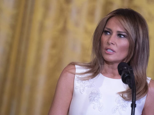 First lady Melania Trump speaks at the Celebration of Military Mothers event at the White House in Washington, on May 10, 2019.