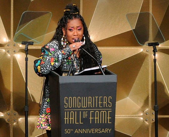 Missy Elliott speaks at the 50th annual Songwriters Hall of Fame induction and awards ceremony at the New York Marriott Marquis Hotel on Thursday, June 13, 2019, in New York.