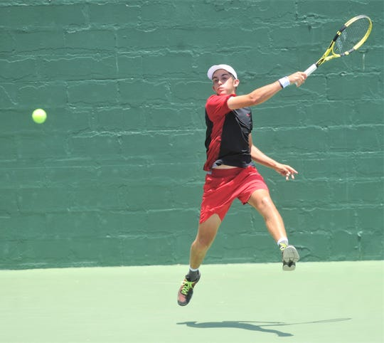 San Antonio's Louis Cloud watches his return shot to Austin's Marko Mesarovic during the second set of their Boys 16 singles championship match. Cloud won the match 6-1, 6-7 (5), 7-6 (4) during the Texas Slam on Saturday, June 15, 2019, at ACU's Eager Tennis Center.