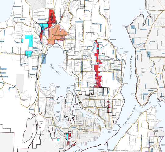 A map of the proposed zones where homes for high-risk sex offenders can be located under new Kitsap County regulations.