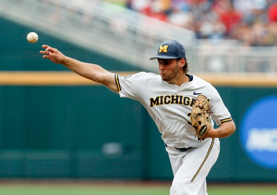 Jun 15, 2019; Omaha, NE, USA; Michigan Wolverines pitcher Karl Kauffmann (37) throws in the first inning against the Texas Tech Red Raiders in the 2019 College World Series at TD Ameritrade Park . Mandatory Credit: Bruce Thorson-USA TODAY Sports
