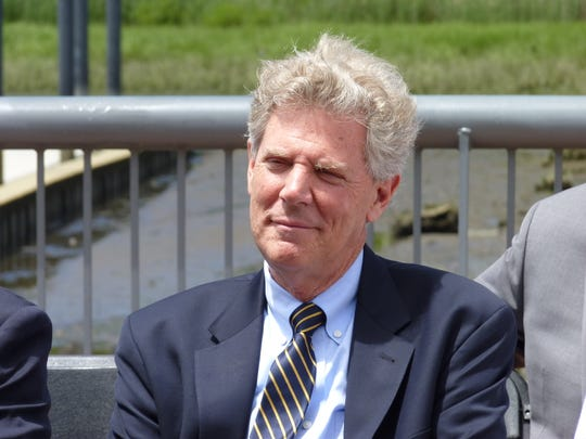 Congressman Frank Pallone at the ribbon-cutting ceremony for Carteret's new marina.