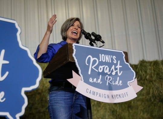 United States Sen. Joni Ernst (R-Iowa) speaks to supporters at the Central Iowa Expo Center in Boone on Saturday, June 14, 2019, during the fifth annual Roast and Ride.