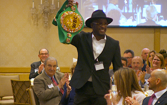 Tony Harrison, Super Welter Weight Champion of the World who lives in Detroit, was among attendees of the Free Press' sold-out Breakfast Club forum Thursday, June 13, 2019 at Townsend Hotel in Birmingham. He brought his belt with him, which he showed the audience.