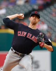Cleveland Indians pitcher Shane Bieber throws to a Detroit Tigers batter during the first inning in Detroit, Saturday, June 15, 2019.