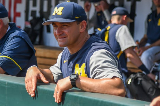 Michigan coach Erik Bakich looks out over the field before the game against Texas Tech in the 2019 College World Series at TD Ameritrade Park on Saturday, June 15, 2019.