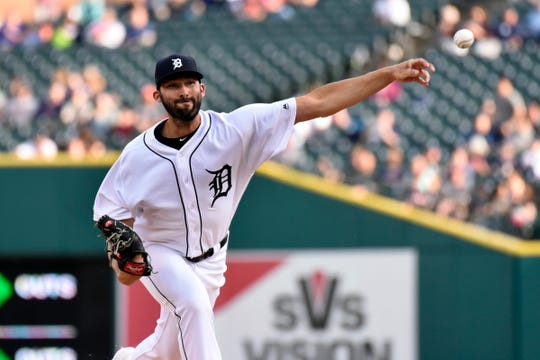 Detroit Tigers starting pitcher Ryan Carpenter throws against the Cleveland Indians during the first inning of a baseball game, Friday, June 14, 2019, in Detroit.