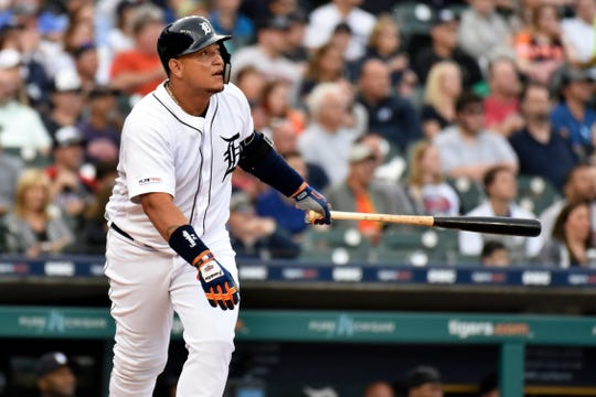 Detroit Tigers designated hitter Miguel Cabrera watches his home run against the Cleveland Indians in the bottom of the second inning of a baseball game, Friday, June 14, 2019, in Detroit.