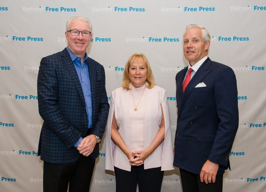 From left: Rod Wood, Denise Ilitch and Bud Denker headlined the Detroit Free Press Breakfast Club forum held Thursday, June 13, 2019, at Townsend Hotel in Birmingham.