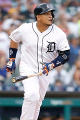 Detroit Tigers first baseman Miguel Cabrera (24) watches the ball after hitting a solo home run during the second inning against the Cleveland Indians at Comerica Park on June 14, 2019 in Detroit, Michigan.
