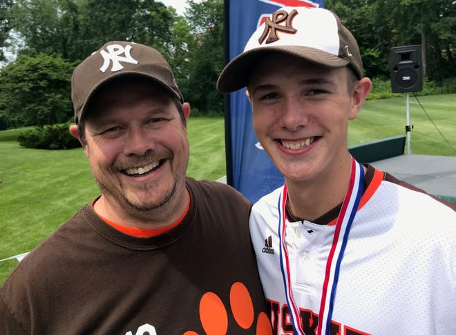 Portage Northern's Xander Morris, pictured with his father, Brint, was the winning pitcher on Saturday, June 15, leading his team to the Division 1 state championship.