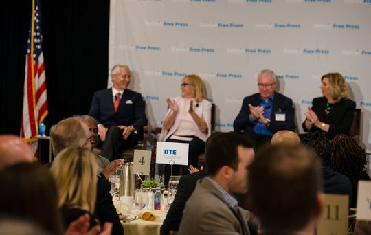 From left: Bud Denker, Denise Ilitch, Rod Wood and moderator Carol Cain at the Free Press Breakfast Club sold-out forum Thursday, June 13, 2019, at the Townsend Hotel in Birmingham. The panel focused on how to bring more high profile national sporting events to region.