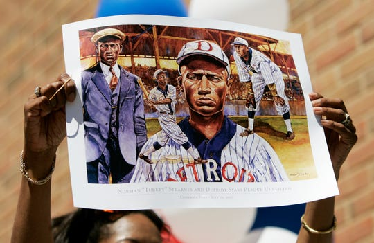 """These posters of Norman """"Turkey"""" Stearnes were given out to those who attended the unveiling ceremony at Comerica Park in Detroit on July 20, 2007."""