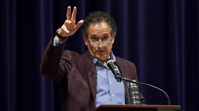 U.S. Rep. Andy Levin speaks at Berkley High School on Saturday about holding  impeachment hearings for President Donald Trump.