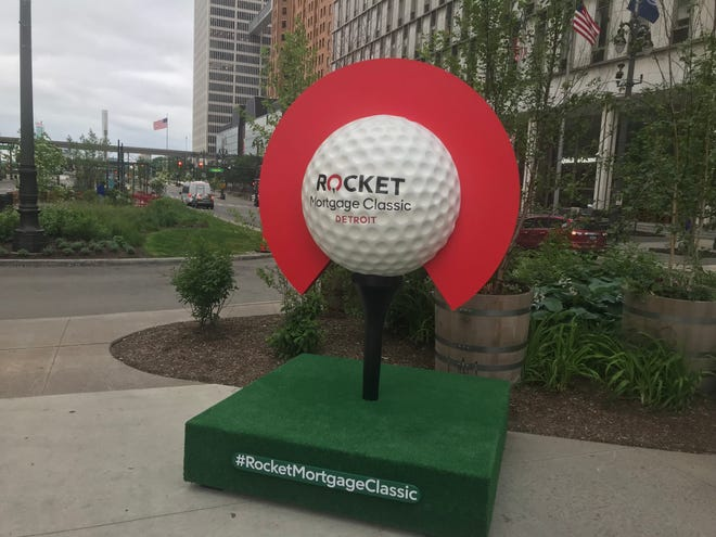 A Rocket Mortgage Classic display has made its way downtown Detroit.