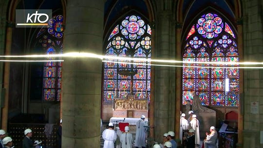 The first Mass is celebrated in a side chapel, two months after a devastating fire engulfed the Notre-Dame de Paris cathedral, Saturday June 15, 2019, in Paris.