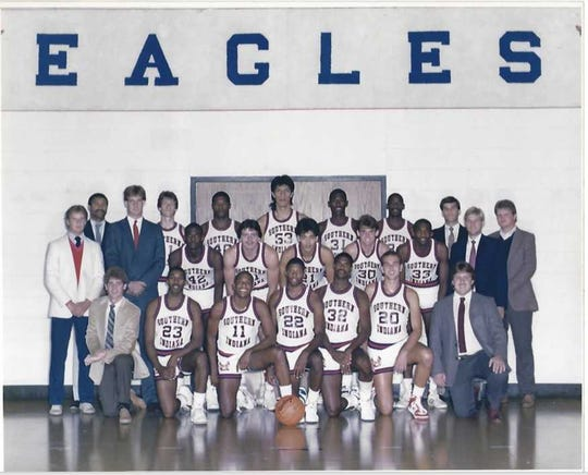 The 1987 University of Southern Indiana basketball team. Antonio Reyes (53, middle back row) recently passed away.