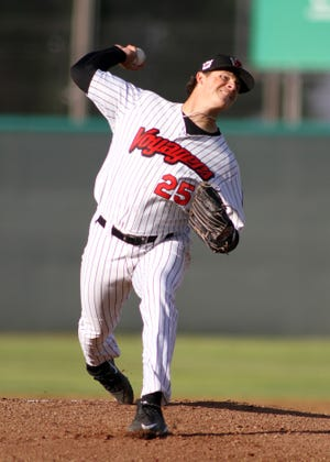 Great Falls Voyagers' opening day starter Sean Thompson lets one fly against the Missoula Osprey Friday at Centene Stadium. The Osprey won, 6-1.