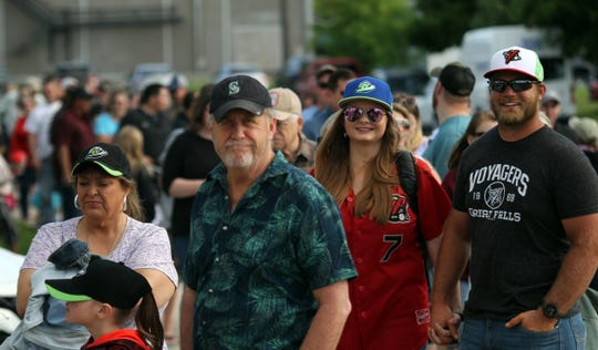 A few of the 2,397 fans who came out for the Great Falls Voyagers' 2019 opener Friday night at Centene Stadium.