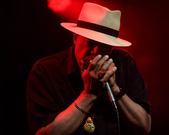 Billy Branch of Chicago Plays the Stones plays the harmonica during the W.C. Handy Blues & Barbecue Festival at Audubon Mill Park in Henderson, Ky., Friday, June 14, 2019.