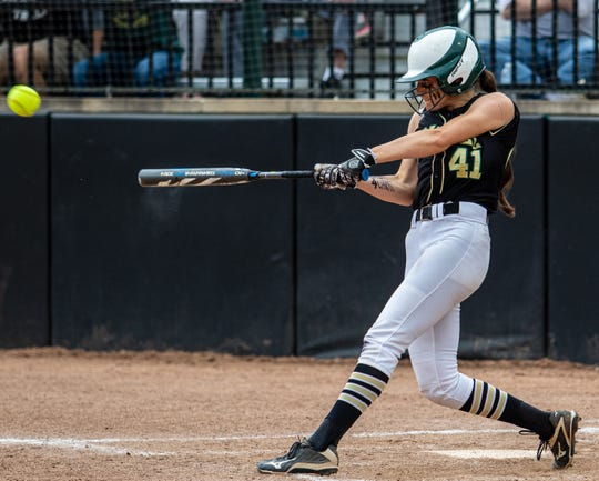 Howell's AJ Militello doubles home a run in a 3-2 loss to Warren Regina in the state Division 1 softball championship game on Saturday, June 15, 2019.