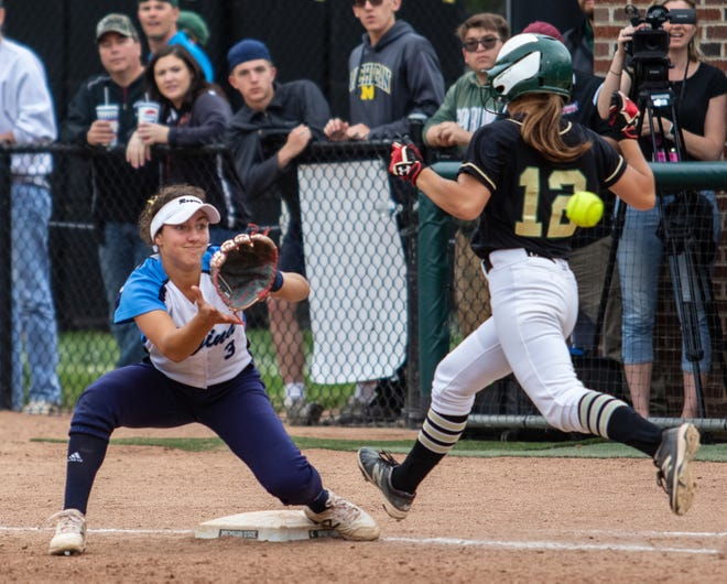 Howell's Kara Johnson is called out on her eighth-inning bunt in a 3-2 loss to Warren Regina in the state Division 1 softball championship game on Saturday, June 15, 2019.