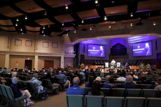 Friends and family gather for the funeral of Memphis Tigers radio host Forrest Goodman at Bartlett Baptist Church on Saturday, June 15, 2019.