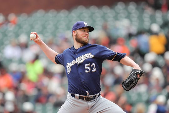 The Brewers' Jimmy Nelson makes his second start for the Brewers since returning from his shoulder injury.