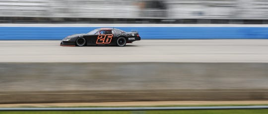 Travis Braden speeds onto the front stretch during practice Saturday for the ARCA Midwest Tour Father's Day 100 at the Milwaukee Mile.
