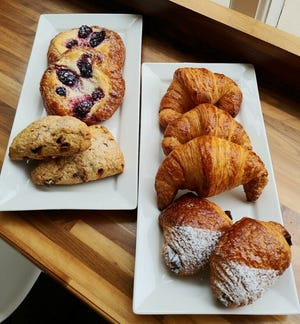 Fruit-and-cheese Danish, scones, croissants and chocolate croissants are some of the pastries that Third Ward doughnut shop Holey Moley has started selling.