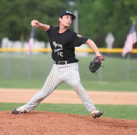 Lockeroom's Jordan Anderson pitches against Harrison on Friday night.
