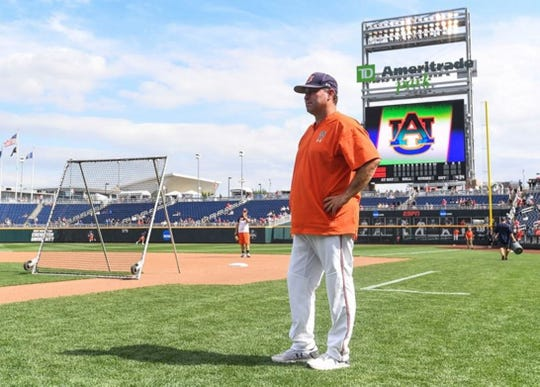Auburn coach Butch Thompson during practice before the College World Series at TD Ameritrade Park on June 15, 2019, in Omaha, Neb.