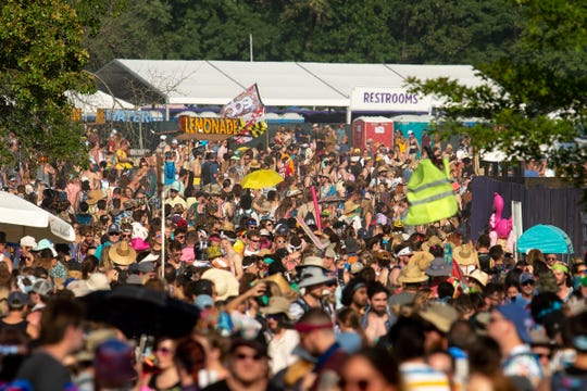 Fans pack the festival grounds at the Bonnaroo Music and Arts Festival in Manchester, Tenn. on June 15.