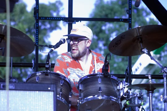Mort Mortenson, drummer and co-founder of Los Colognes, performs at Bonnaroo's Who Stage June 14, 2019 in Manchester, Tenn. ()