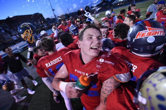 Bergen County Football All-Star Game at Lyndhurst High School on Friday, June 14, 2019. The South celebrates defeating the North.