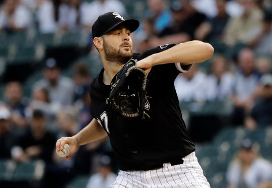 Chicago White Sox starting pitcher Lucas Giolito throws against the New York Yankees during the first inning of a game in Chicago, Friday, June 14, 2019.