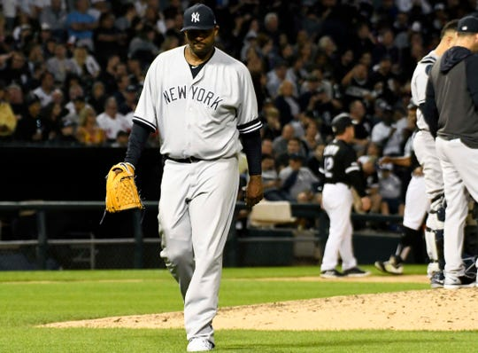Jun 14, 2019; Chicago, IL, USA; New York Yankees starting pitcher CC Sabathia (52) leaves the game against the Chicago White Sox during the fifth inning at Guaranteed Rate Field.