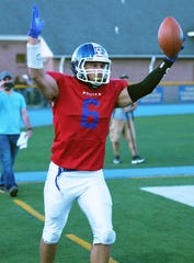 Bergen County Football All-Star Game at Lyndhurst High School on Friday, June 14, 2019. South #6 Jake Colon, of Wood-Ridge, celebrates after scoring a touchdown.
