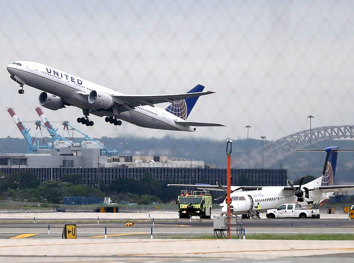 A United Airlines plane takes off from Newark Liberty International Airport, in Newark, N.J.