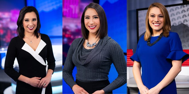 The El Paso KTSM weather team, from left: Monica Cortez, Celina Quintana, and Jessica Nevarez. All three are NMSU graduates who worked in the university's News22 broadcasting program.