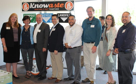 The All-Star team from the Rio Grande recycling corridor is ready to become a powerhouse for recycling in New Mexico and El Paso. From left: Shirlene Sitton, Santa Fe Solid Waste; Jill Holbert, Albuquerque Solid Waste; Patrick Peck, South Central Solid Waste Authority; Kurt Fenstermacher, El Paso Environmental Services Department; Rafael Leos, SCSWA; Neal Denton, Santa Fe Environmental Services Division; Michaela Beggins, Santa Fe Solid Waste Management Agency; Miguel Fernandez, SCSWA.