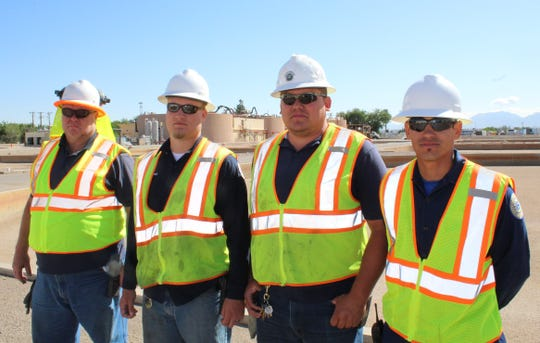 From left, Rodney Talcott, Jake Holes, Darrill Schoonover, and James Woods are military veterans who now serve Las Cruces residents in wastewater management.