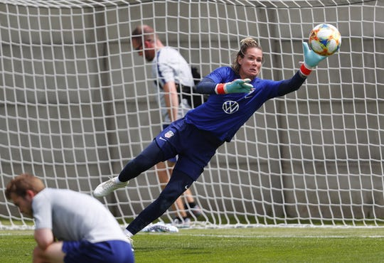 Jun 10, 2019; Paris, FRA; The United States goalkeeper Ashlyn Harris makes a save during a Team USA training session in preparation for the FIFA Women's World Cup France 2019 at Terrain d'Honneur Lucien Choine.