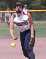 Pine Plains pitcher Alex McKenzie in action against Warsaw in the softball state semifinal at Moreau Recreational Park in Glens Falls, New York June 15, 2019.