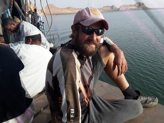 Cornel Mancas poses along the water in Egypt near the end of his journey across Africa in 2018. He had lost 40 pounds during the fourth-month trek and upon his return to York he would be hospitalized for Hepatitis A, but he has planned another big adventure.