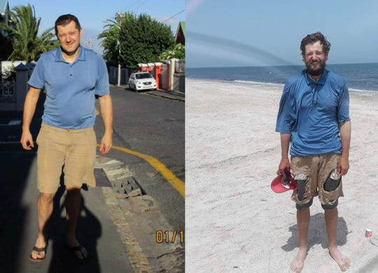 A side-by-side view of Cornel Mancas before and after his journey across the length of Africa. Notice he is wearing the same clothes in both pictures. Mancas, at left, is in Cape Town, South Africa on Jan. 12, 2018, the day before he began pedaling. On the right, Mancas stands by the Mediterranean Sea in Port Said, Egypt, on April, 30, 2018. Mancas lost about 40 pounds during the 11,779-kilometer journey.